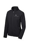 Ladies Core Soft Shell Black Jacket with all Grey One America Logo